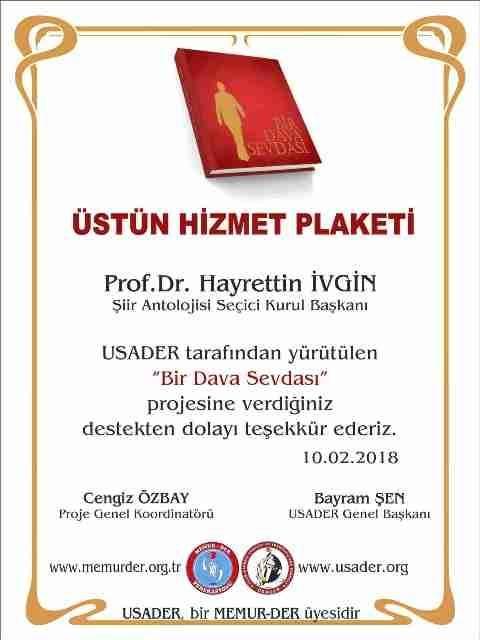 PROF. DR. HAYRETTİN İVGİN'E ÜSTÜN HİZMET PLAKETİ VERİLDİ - vezirkopru.net