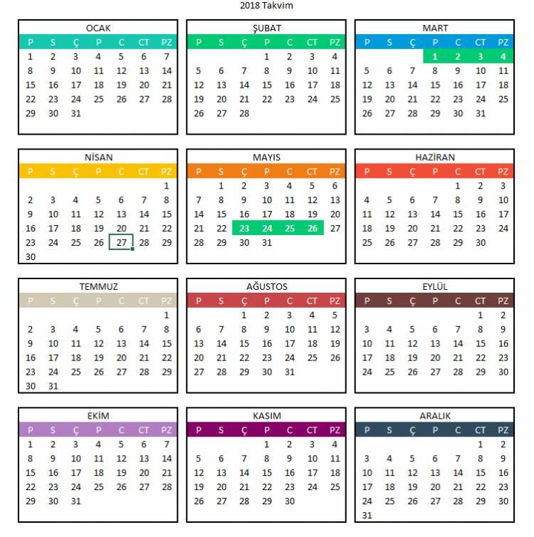 2018 Yılı Resmi Tatiller ve Dini Günler